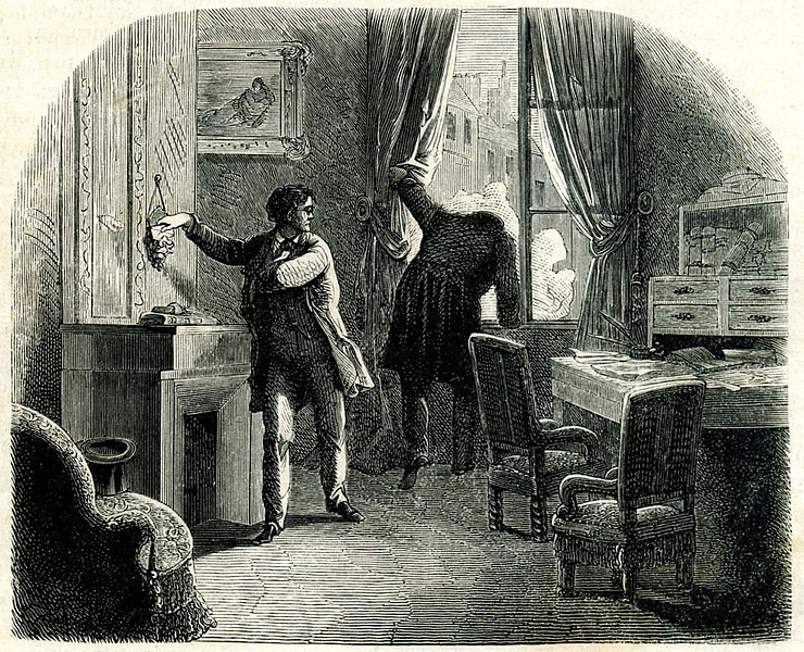 """C. Auguste Dupin solves the mystery of """"The Purloined Letter. """" Fashion Magazine, 1864.  Public Domain ."""