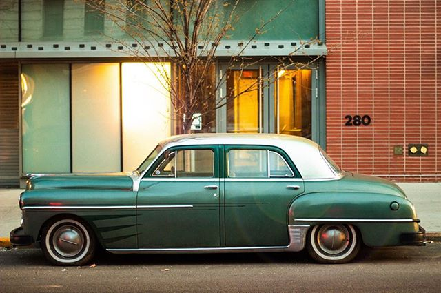 Streets of Brooklyn sending me back to the 50s . . . #brooklyn #cars #50s #photography #canon #grain #green #streetstyle #nyc