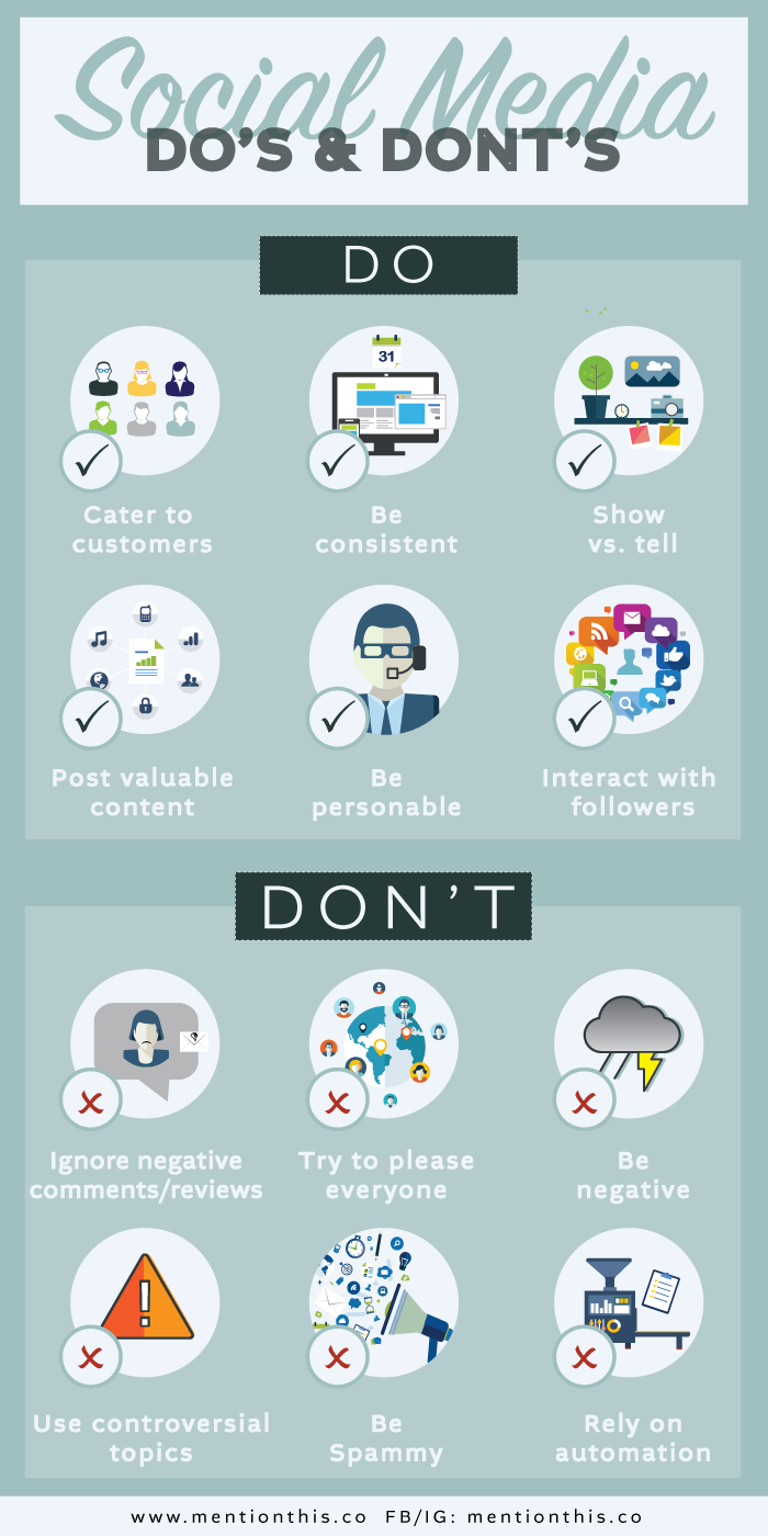 Social Media Dos Don'ts tips for small business