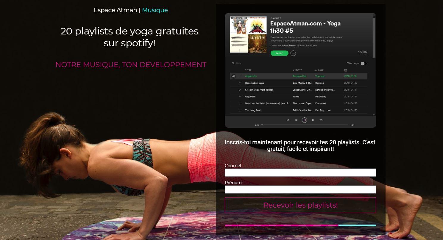 Inscris-toi maintenant pour recevoir 20 playlists de yoga! - Gratuit sur Spotify!