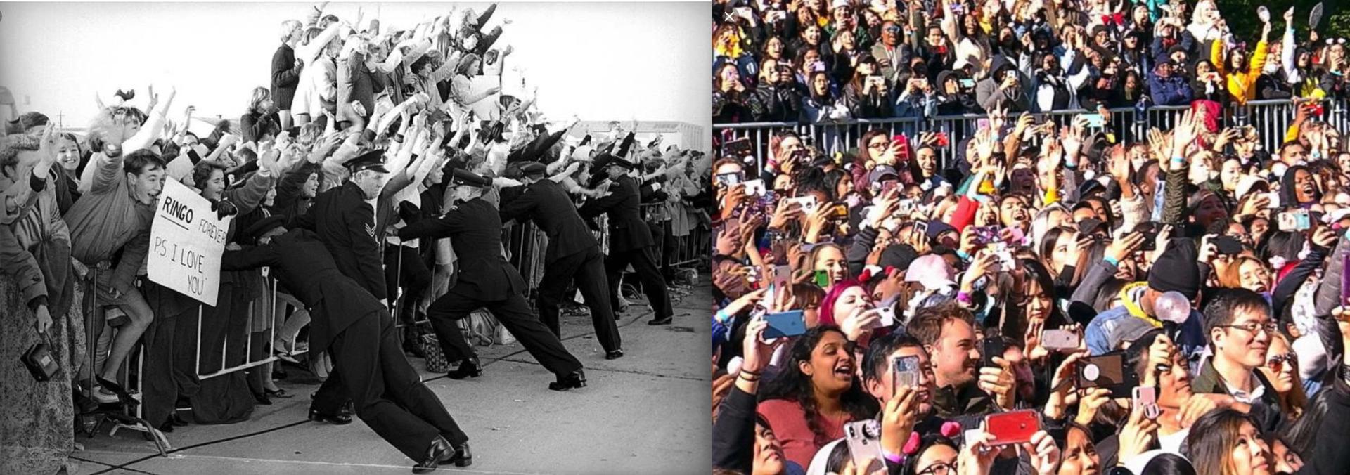 두 손을 들고 있는 20세기 비틀스 팬인 Beatlemania : 스마트폰, 공식 야광봉을 동시에 들고 있는 21세기 BTS 팬인 ARMY
