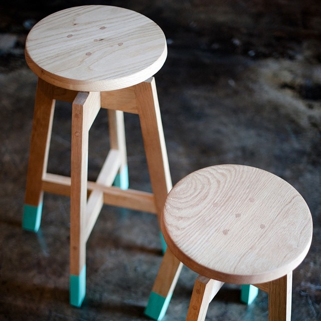 """Short and tall stool as part of the """"10 degrees"""" series"""