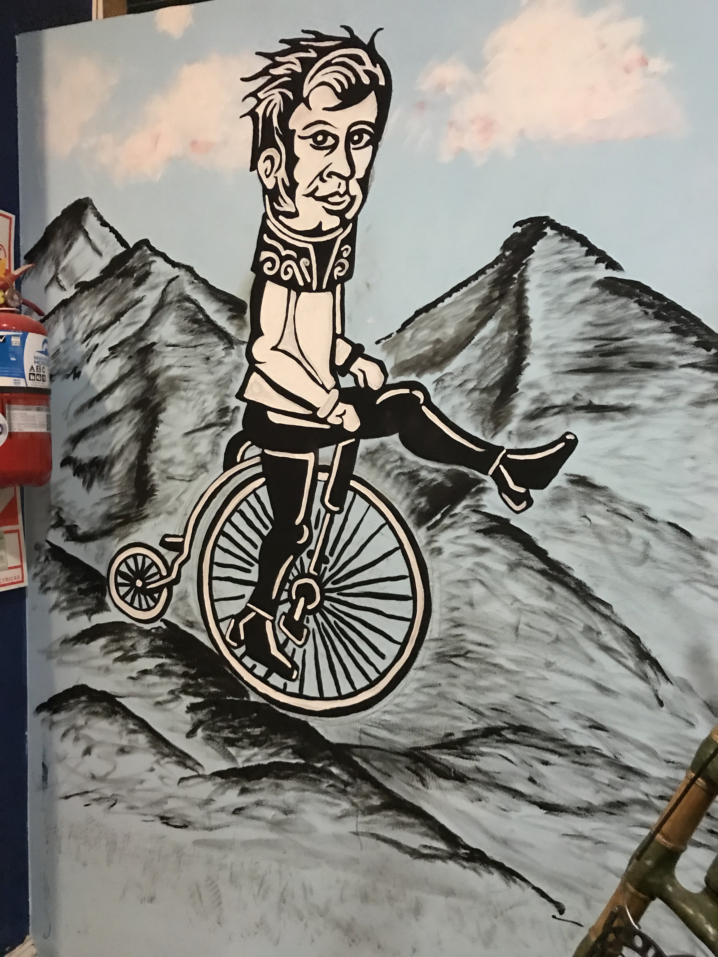 Buenos Aires, Argentina: Acrylic paint on wall inside bike shop