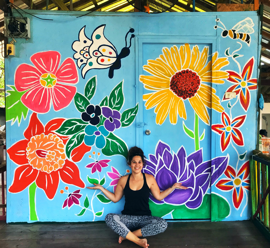 Chiang Mai, Thailand: Acrylic paint and house paint on wall outside in the daycare area at The Wildflower Home.