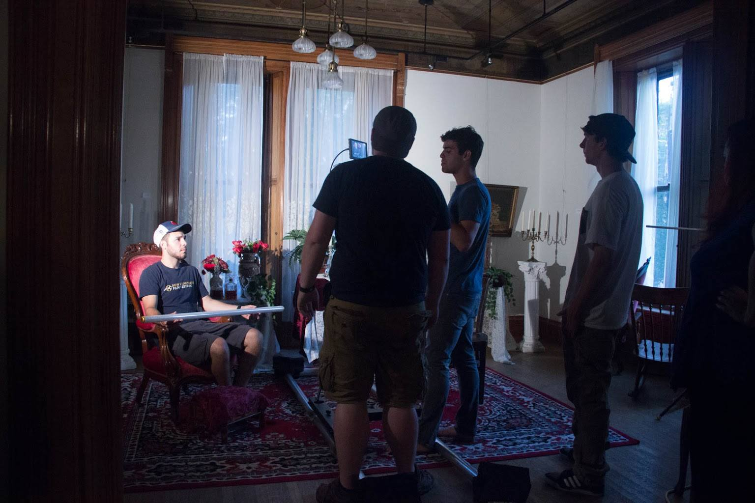 Production Day #1. Directors of Photography, Jonathan Geddis and Jonathan Olson work with Director Pedro Pimentel on set.