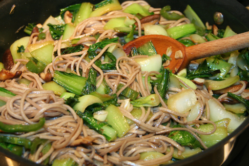 Bok Choy with Mushroom & Soba Noodles