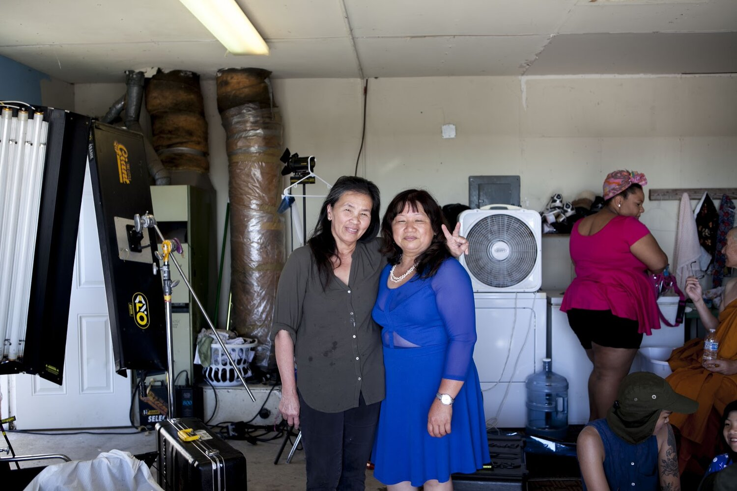 Diem Mai (Director Sal Tran's mother) is posing next to actress Thu Pham who portrays Co Diem in the story.