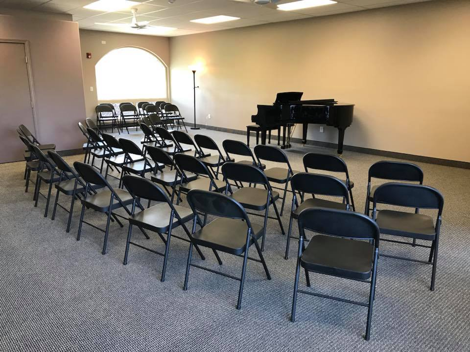 An intimate concert space with flexibly arranged seating for 50 (May 2018)