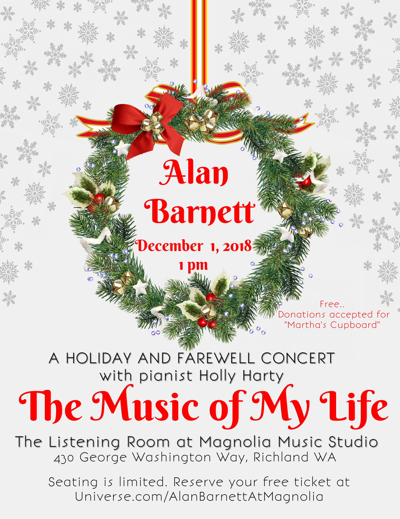 Vocalist Alan Barnett and pianist Holly Harty, December 1, 2018