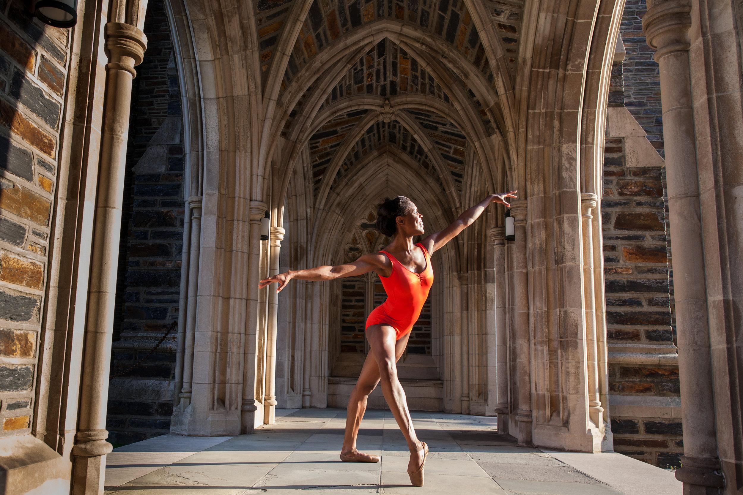 Lydia McRae dancing at Duke Chapel by Zoe Litaker Photography