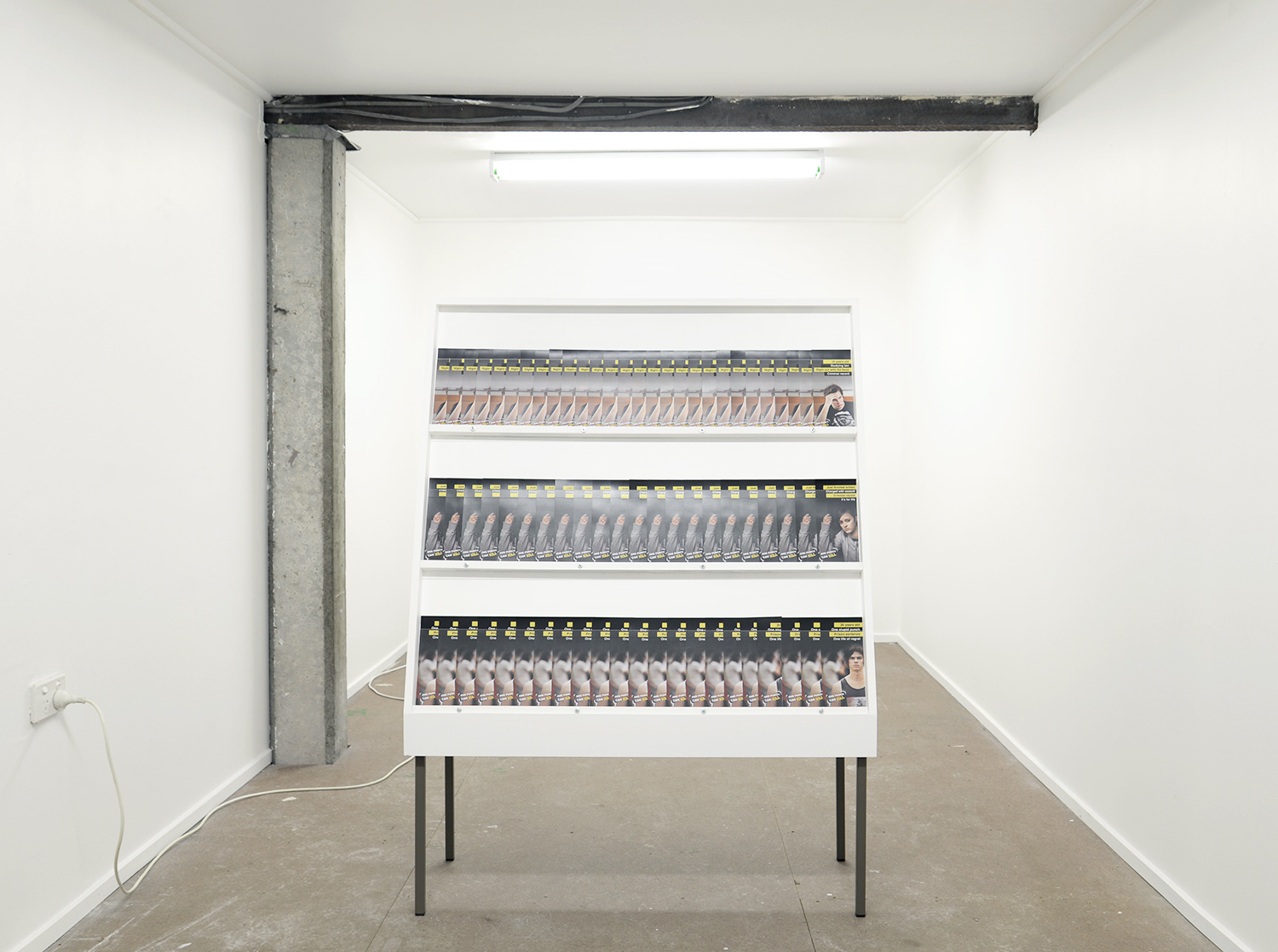 Local Solutions for General Anxieties 2018 acrylic, MDF, appropriated  One Punch can Kill catalogues, steel frame, screws, nuts, bolts approx 1500mm x 900mm x 400mm