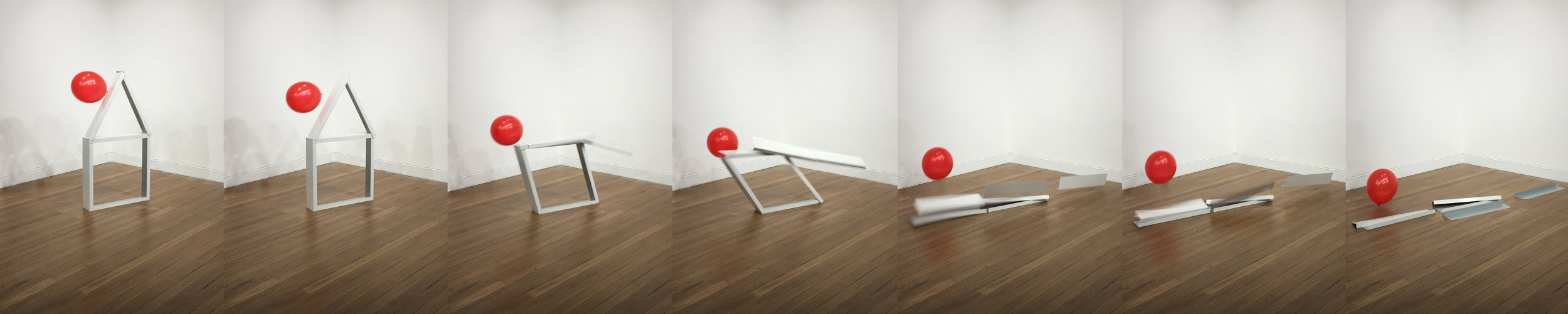 Jordan Azcune, Red alert and panic bells , 2017, white-coated steel sheets, dimensions variable. Photo courtesy Jordan Azcune.  Click picture to enlarge.