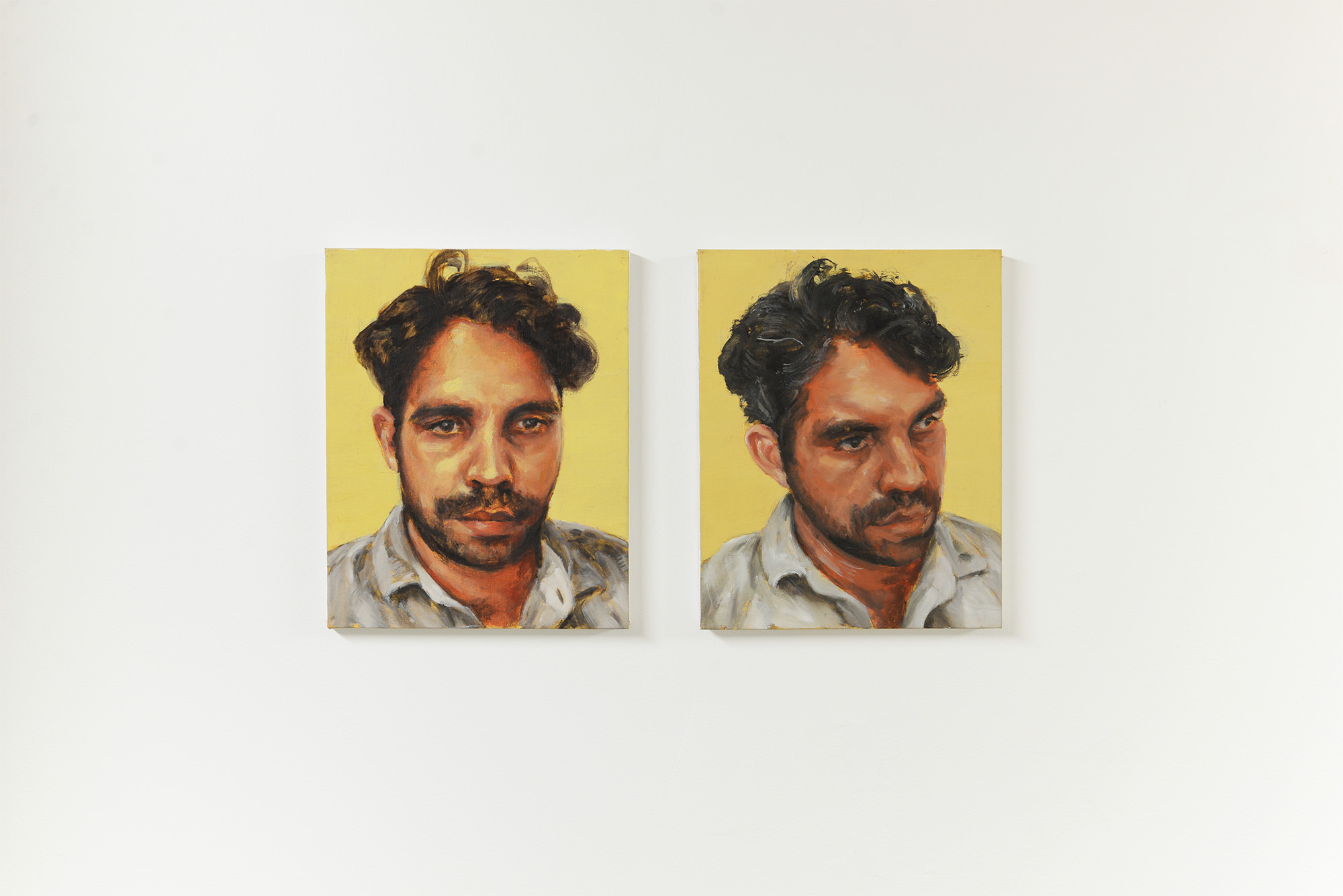 Portrait I  and  Portrait   II  2018 oil on canvasboard each 25.4cm x 20.3cm
