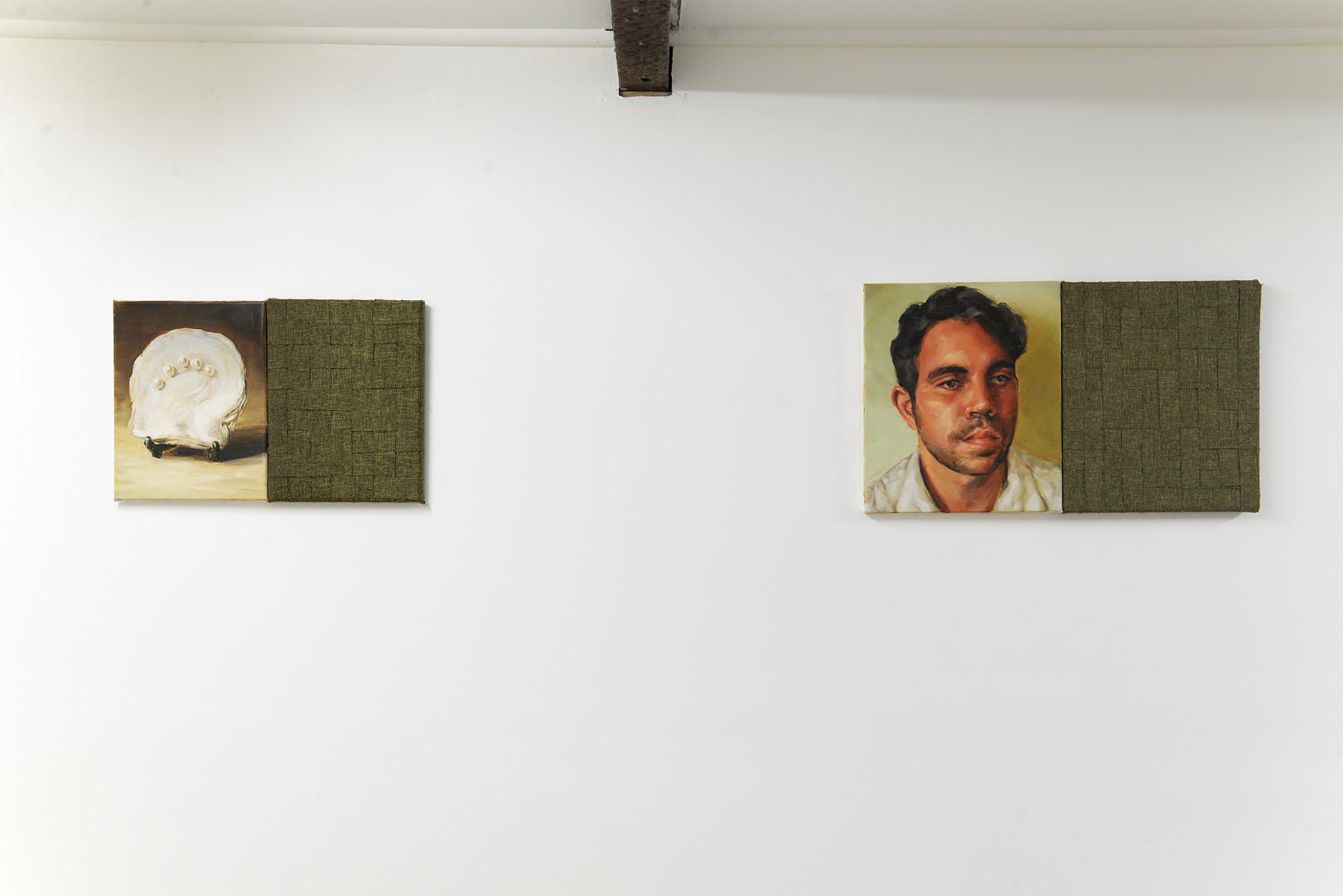 Left: Combine (Mother-of-Pearl) 2018 oil on canvas, linen weave 31cm x 47cm Right: Combine (Portrait) 2018 oil on canvas, linen weave 36cm x 62cm