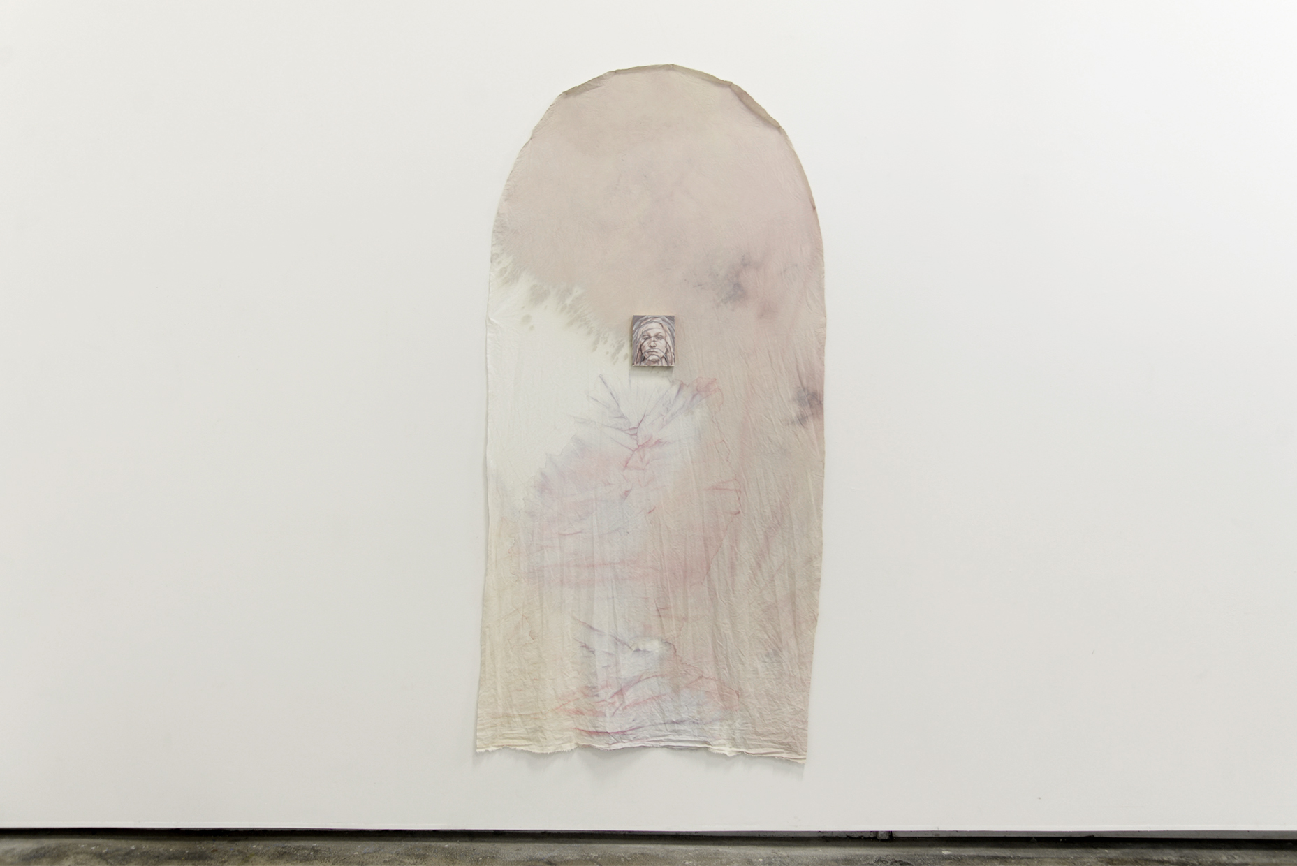 Dana Lawrie  Lack petal Dana  2018 oil on board and cotton dyed with jabitocaba and red hibiscus flowers 250cm x 90cm