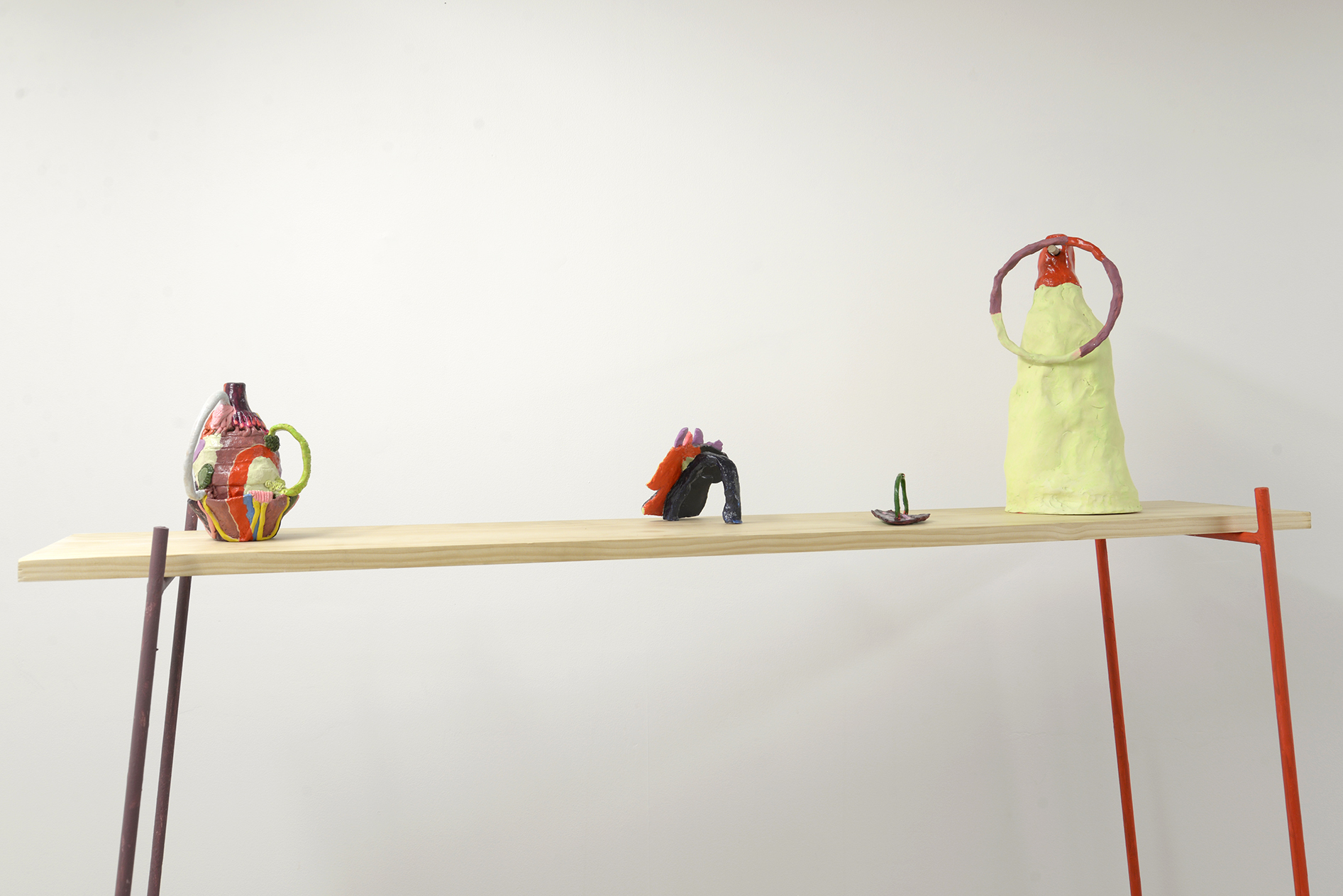 Hailey Atkins (L - R)  Soup Opera ;  Ugh ;  Pinky work ;  Catch you ; all painted ceramic with polyurethane sealant