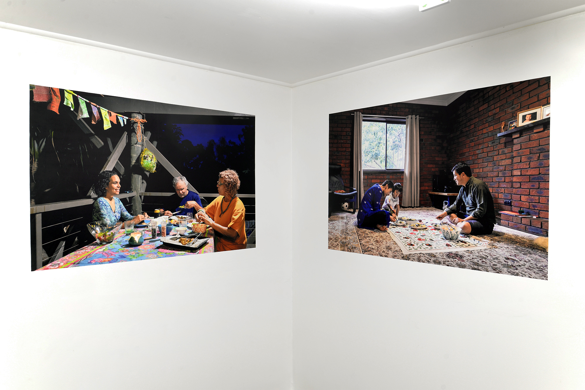 Left:  Carmichael Family  2018 archival inkjet print on Phototex  Right:  Sarwari Family  2018 archival inkjet print on Phototex