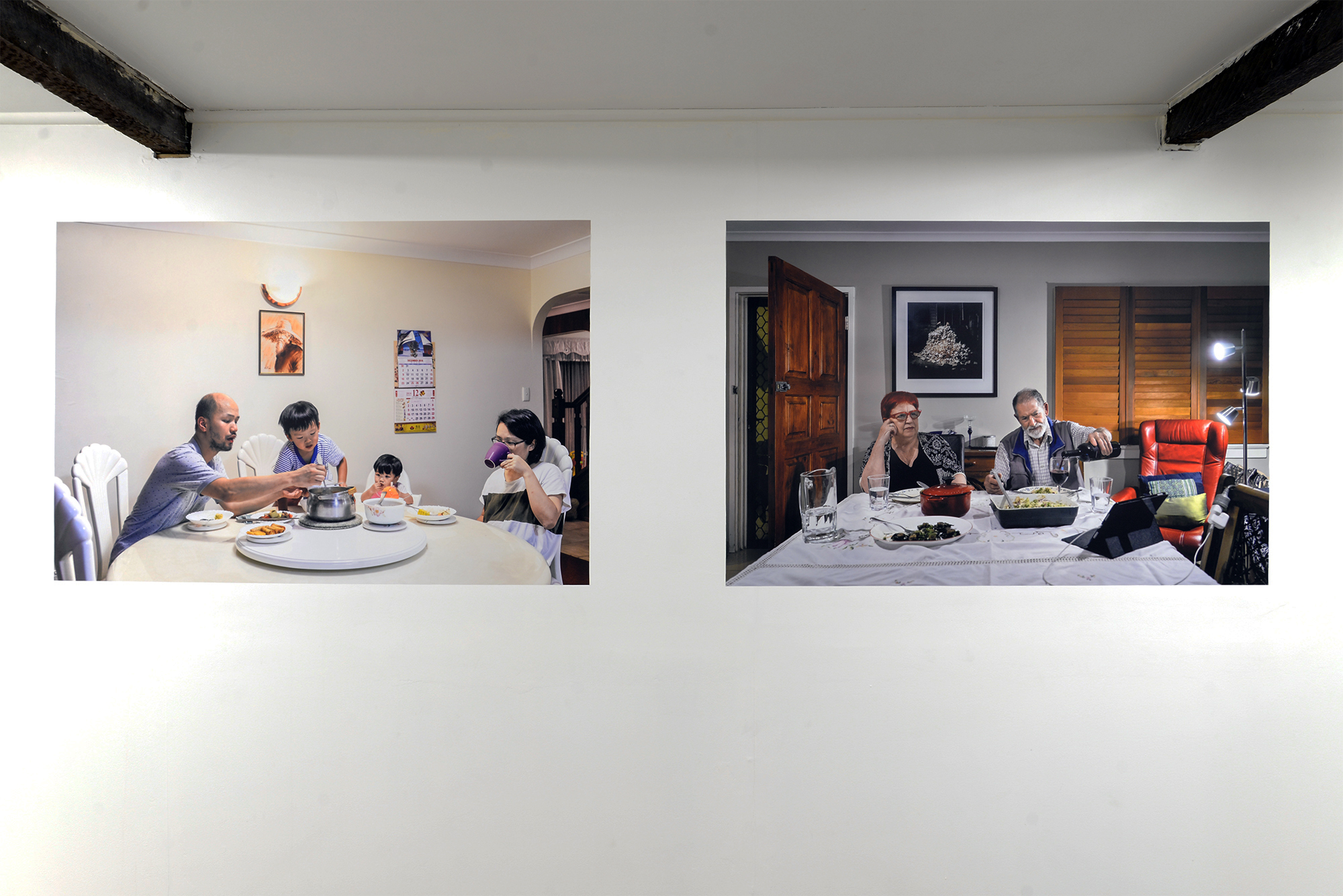 Left:  Chiang   Family  2018 archival inkjet print on Phototex  Right:  Anna and Tom  2018 archival inkjet print on Phototex