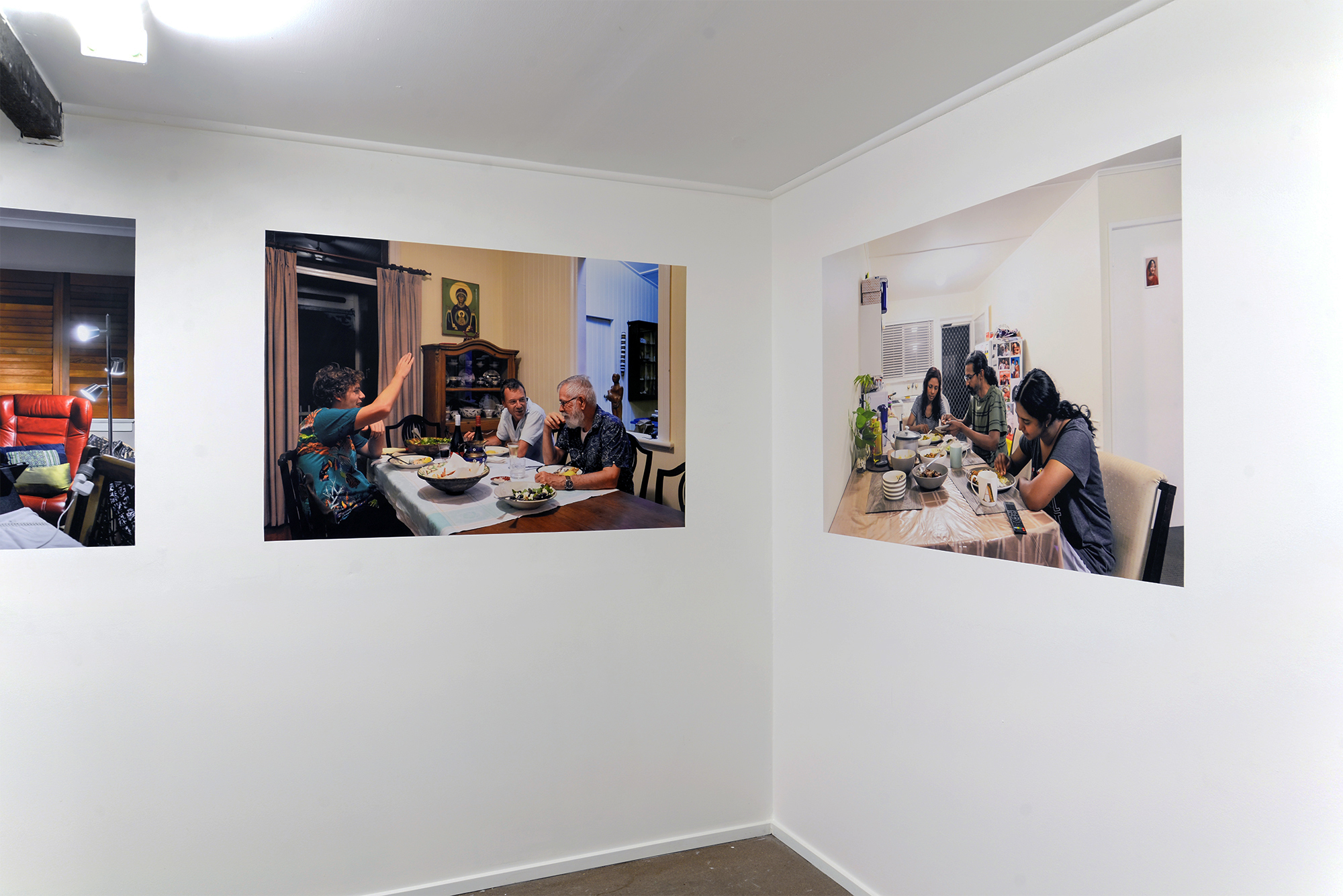 Left:  Jordan, Lincoln and Leonard  2018 archival inkjet print on Phototex  Right:  Shehab, Runa and Ahona  2018 archival inkjet print on Phototex