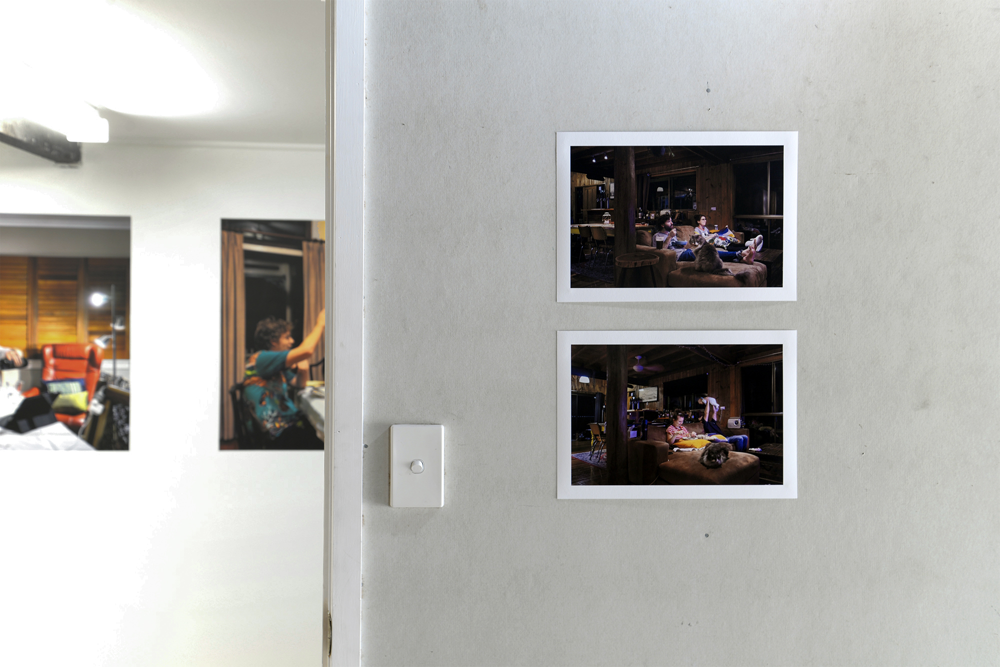Top:  Brett, Sarah and Boris the Cat  2018 archival injket print  Bottom:  Brett, Sarah, Juno and Boris the Cat  2019 archival inkjet print