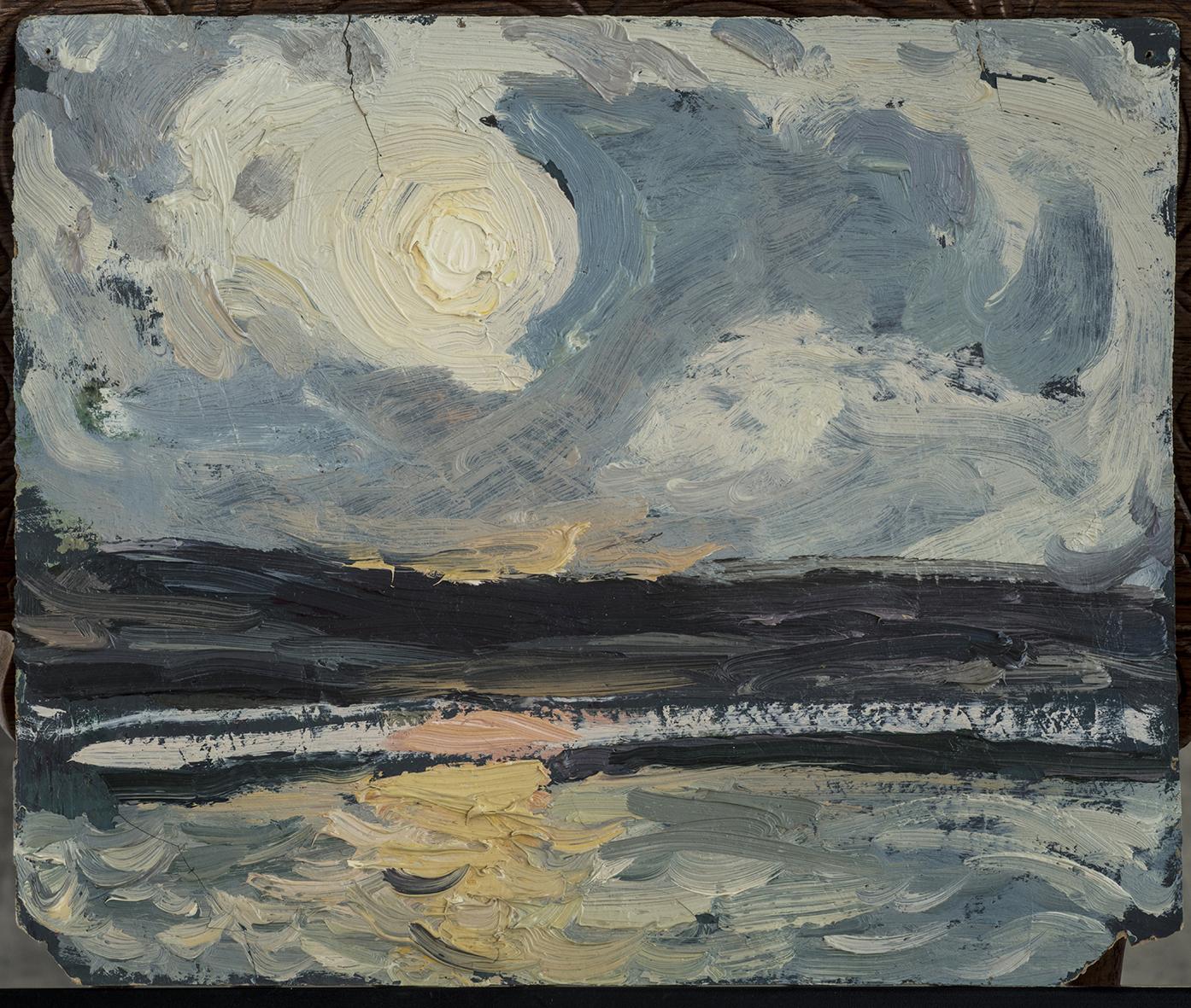 赵文量   《前海落日》,1960年  22X26cm 油画纸