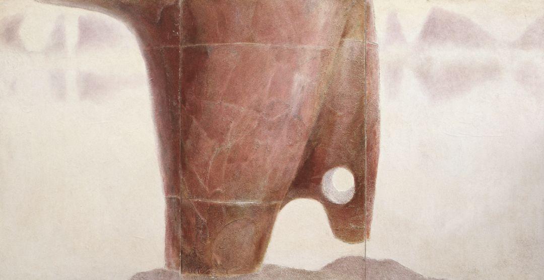 厐壔,漓江行之二,1981年,布面油画、沙,110.5x213.5厘米
