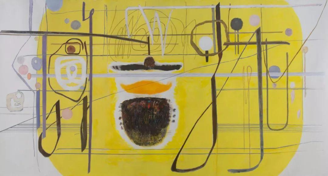 厐壔,色阶的变化-黄调之一,2017年,纸本水粉、丝网印刷,134×262厘米