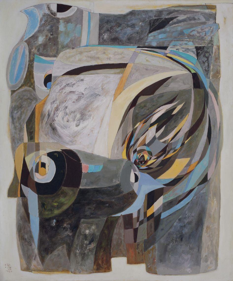 厐壔,青铜的启示―B20,1990年,布面油画,180×150厘米