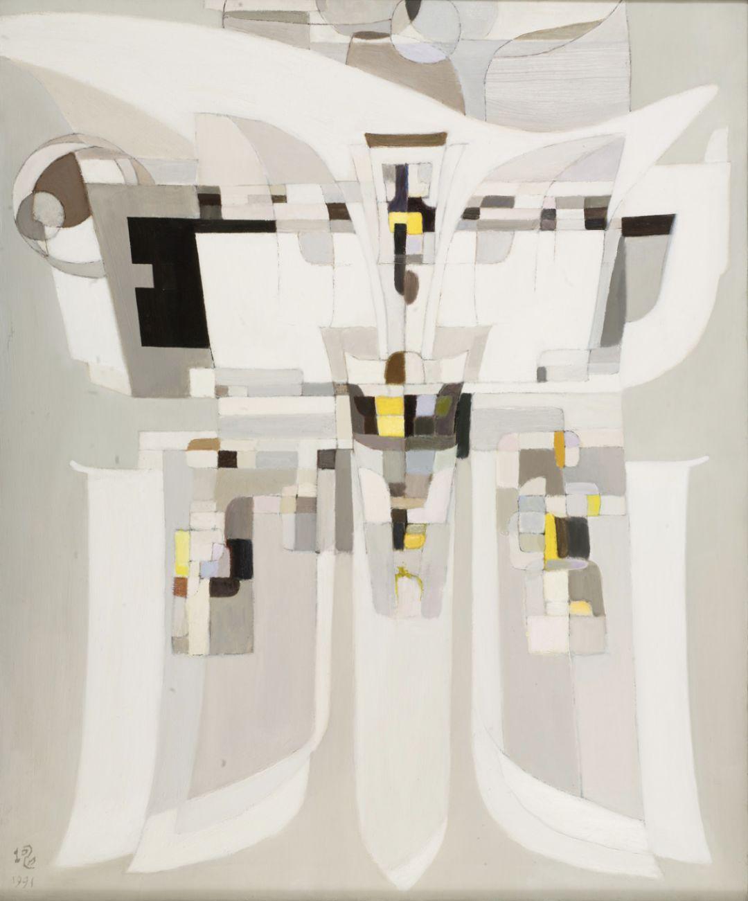 厐壔,青铜的启示―爵、斝No.3,1991年,布面油画、丙烯,91.4×75.7厘米