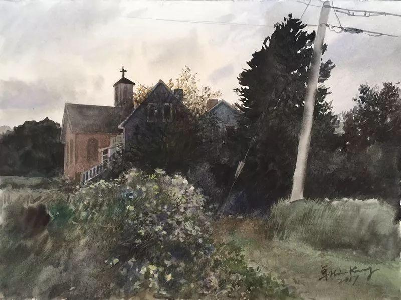 卓晓光,《教堂的黄昏》,纸上水彩,27.8×38cm,2017年