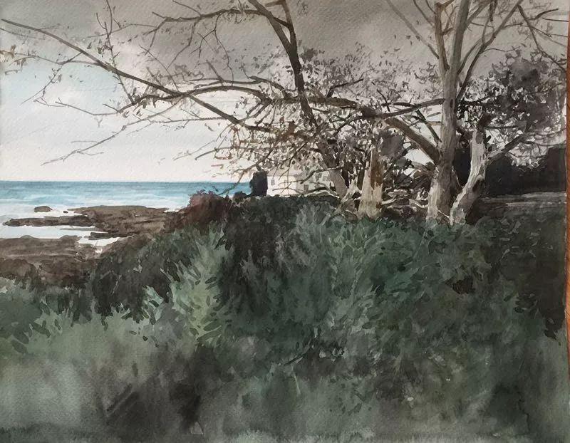 卓晓光,《海边》,纸上水彩,27.8×38cm,2017年