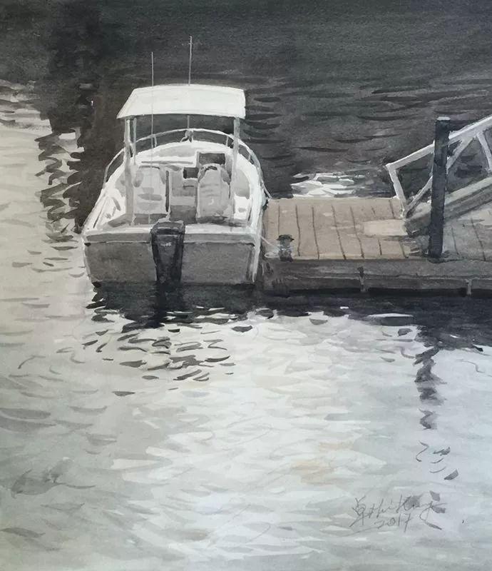 卓晓光,《逆光》,纸上水彩,31×27.8cm,2017年