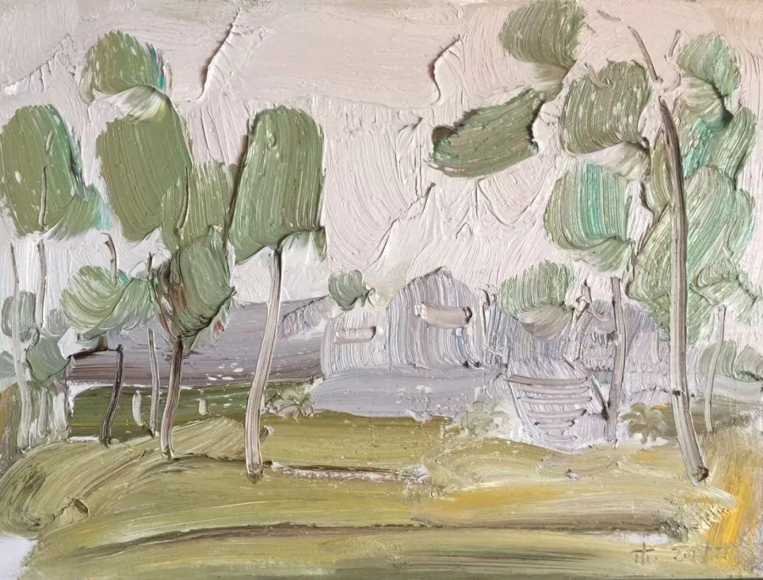 李睦,《跳跃》,油画,40×55cm,2017年