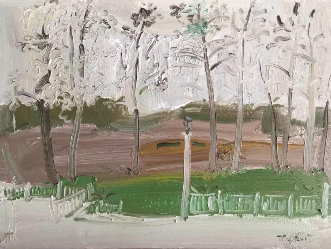李睦,《涂抹》,油画,40×55cm,2017年