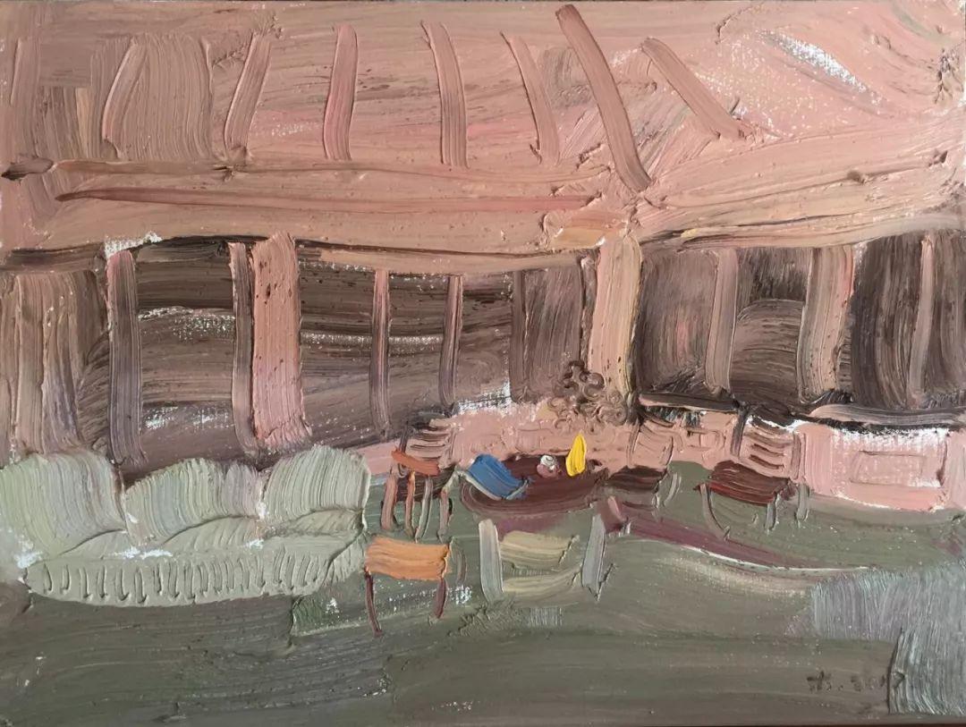 李睦,《情色》,油画,40×55cm,2017年