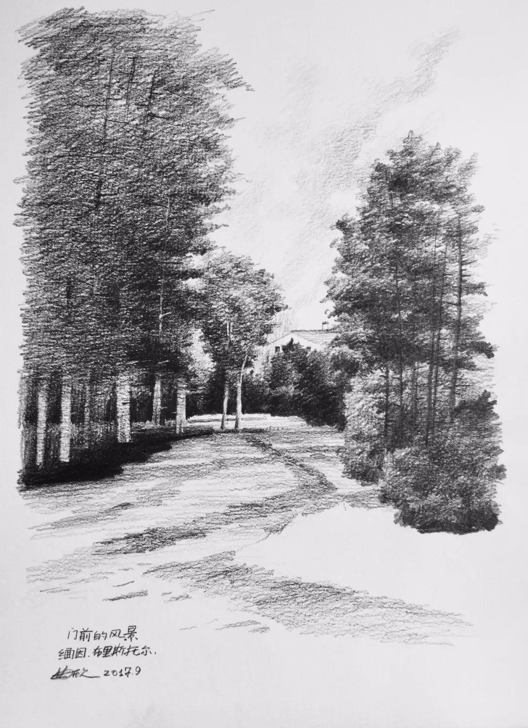 曲欣,《门前的风景》,纸面铅笔,28×38cm,2017年9月