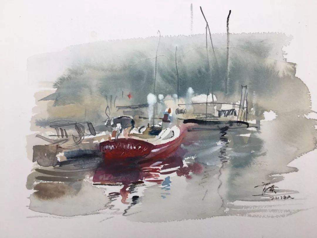 蒋智南,《布里斯托尔写生系列作品1》,水彩,38×28cm,2017年