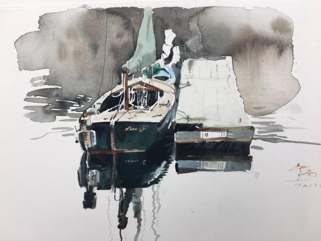 蒋智南,《布里斯托尔写生系列作品5》,水彩,38×28cm,2017年