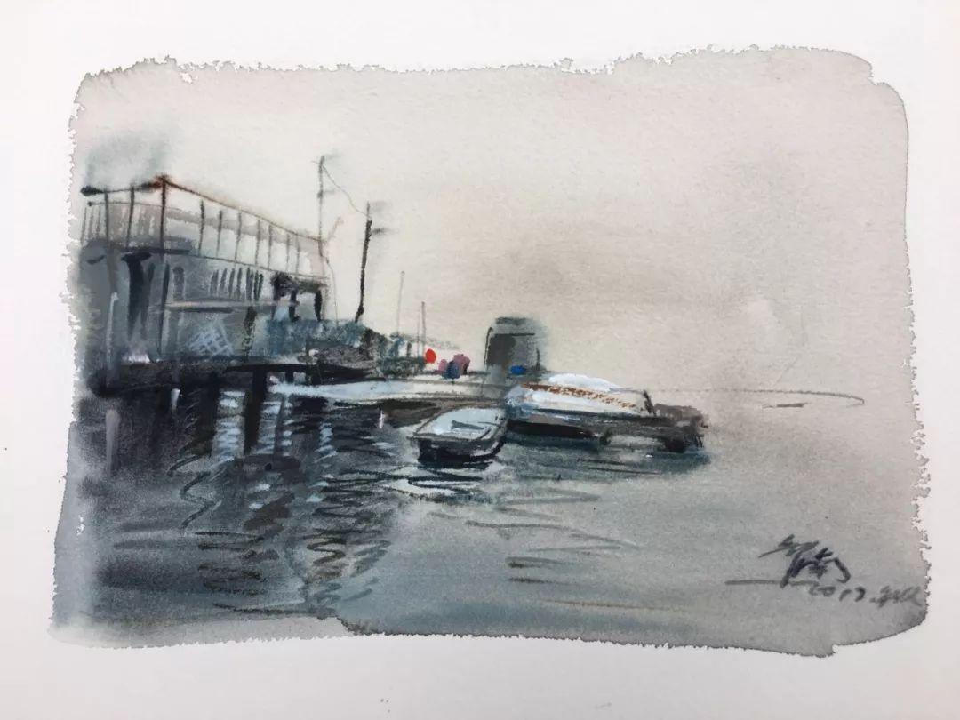 蒋智南,《布里斯托尔写生系列作品10》,水彩,38×28cm,2017年