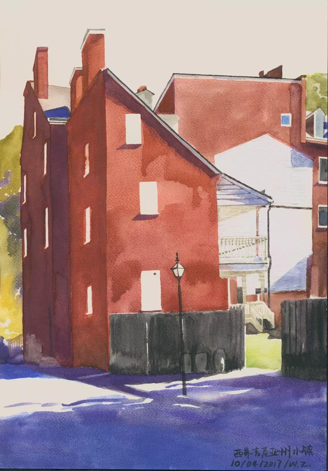 文中言,《西弗吉尼亚小镇》之一,纸上水彩,27×39cm,2017年