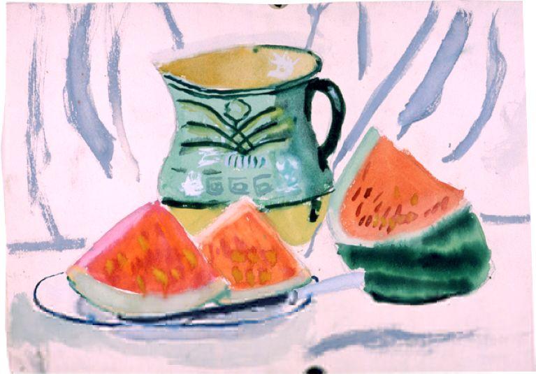 厐壔先生的女儿、艺术家林延13岁时的西瓜静物写生作品