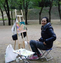 Elena painting en plein air with staff from the Inside-Out Art Museum