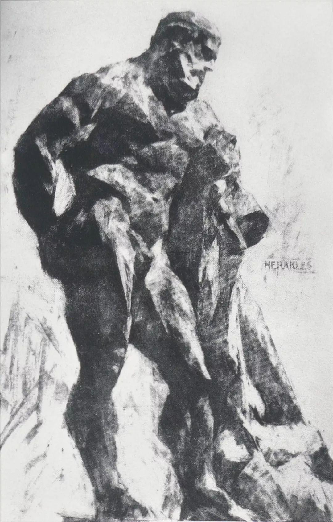 《力士》,纸本素描,1977年