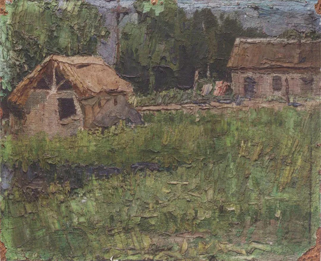 《青堆子》,纤维板油画,1969-1970年