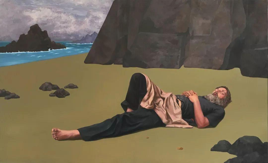 《沉睡的人》,刘鼎,布面油画,200×120厘米,2017年
