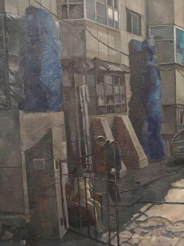 李大方,五点钟(局部),布面油画,2017