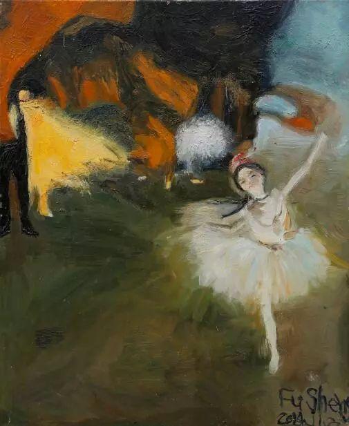 ▲ 傅晟,《古典芭蕾》,2014年,60x50厘米,油画