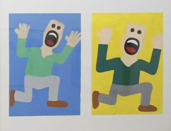 ▲  郜子轩,《惊恐万状的爸爸》(左)、《惊恐趴地上的爸爸》(右),2018,53×38厘米,纸本丙烯
