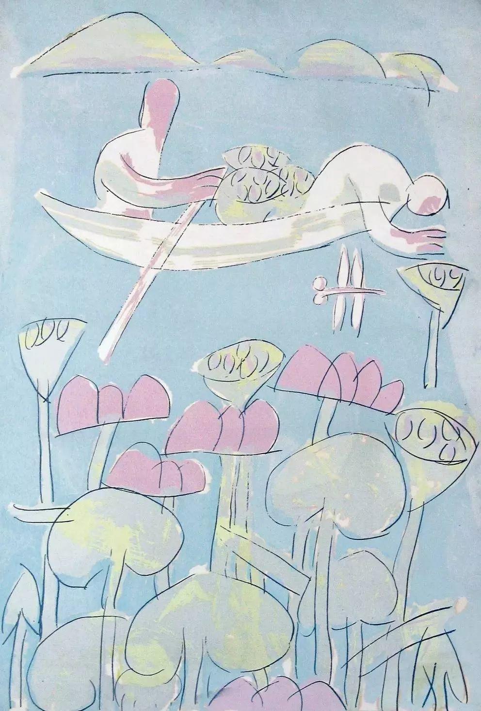 广军,采莲图, 丝网, 80 x 55厘米, 1985年