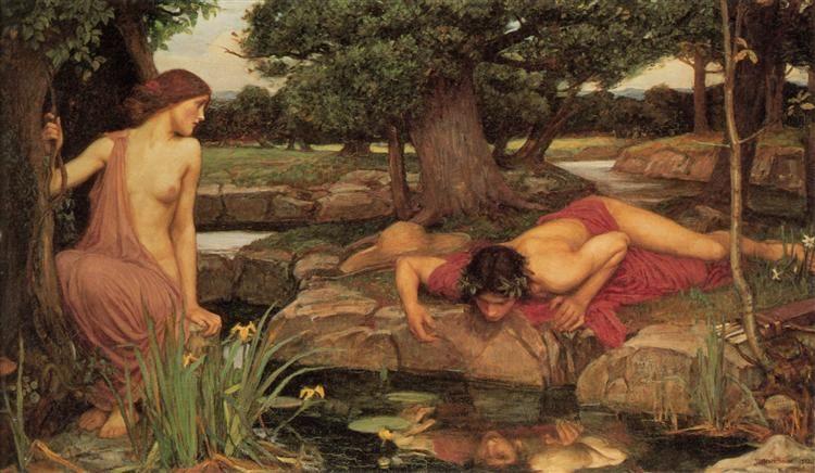 林中的那喀索斯,可视为何其芳早期诗歌中抒情主人公的浓缩写照之一。《山林女神与那喀索斯》 ( Echo and Narcissus ,1903),约翰·威廉·沃特豪斯(John William Waterhouse),作品尺寸:189 x 109 cm,布面油画